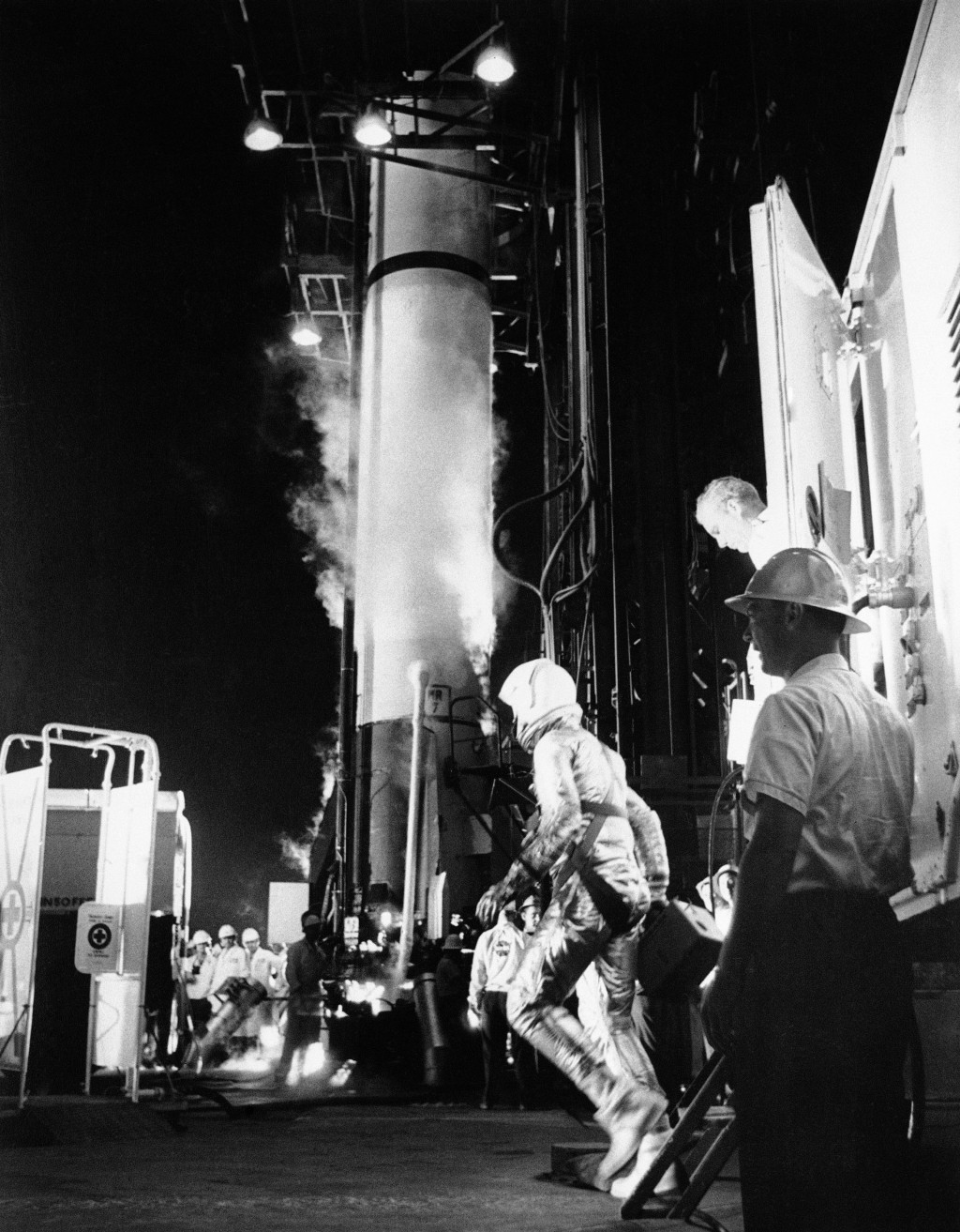 FILE - In this May 5, 1961 file photo, astronaut Alan Shepard arrives at the launching pad in Cape Canaveral, Fla., to board a Mercury-Redstone rocket...