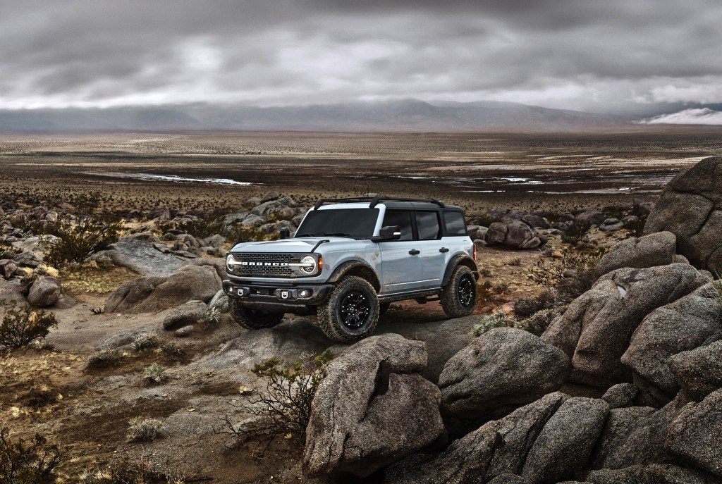 This photo provided by Ford Motor Company shows the 2022 Ford Bronco. The Bronco is an example of an off-road ready SUV with standard four-wheel-drive...