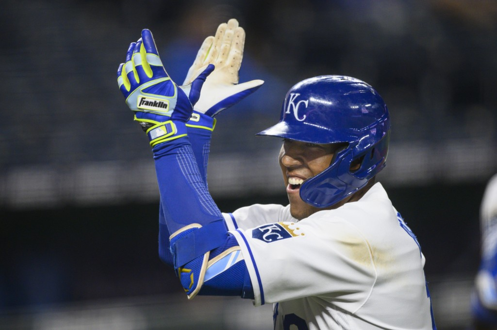 Kansas City Royals Salvador Perez celebrates after hitting a home run to give the Royals a lead over the Cleveland Indians during the fifth inning of ...