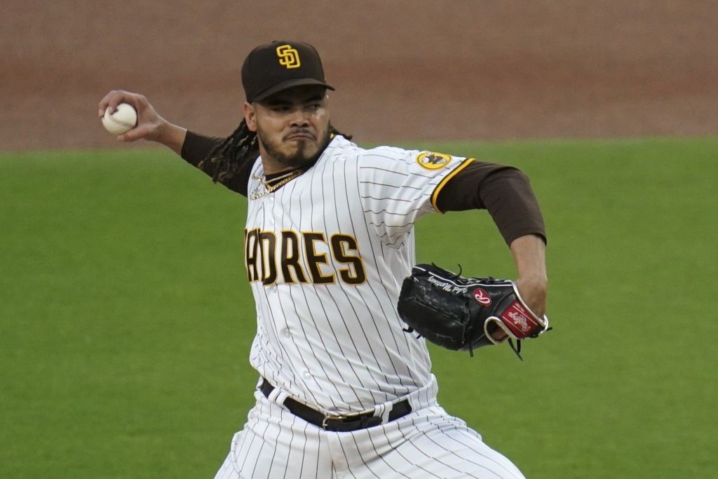 San Diego Padres starting pitcher Dinelson Lamet works against a Pittsburgh Pirates batter during the first inning of a baseball game Tuesday, May 4, ...
