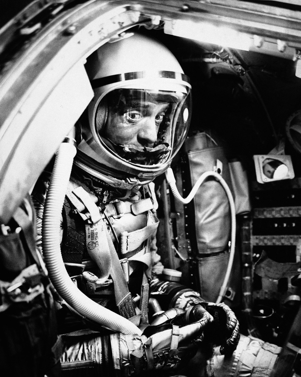 FILE - In this May 5, 1961 file photo, astronaut Alan Shepard sits in his capsule at Cape Canaveral, Fla., aboard a Mercury-Redstone rocket. Freedom 7...