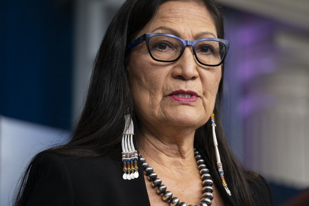 FILE - In this April 23, 2021, file photo, Interior Secretary Deb Haaland speaks during a news briefing at the White House in Washington. From the nat...