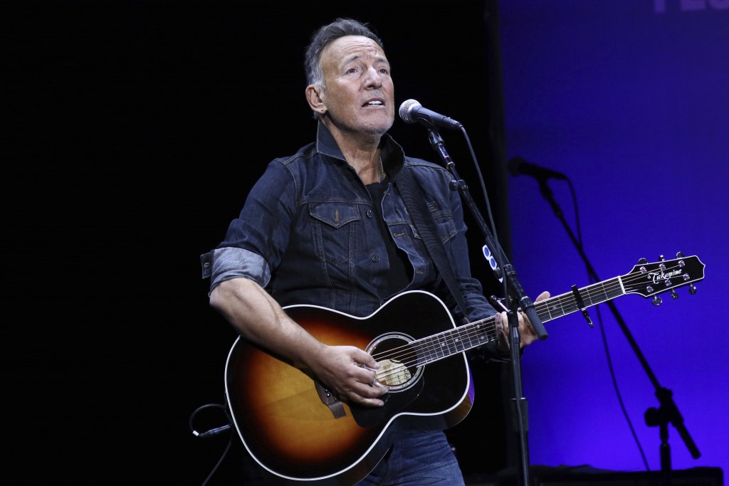 FILE - Bruce Springsteen performs at the 13th annual Stand Up For Heroes benefit concert in support of the Bob Woodruff Foundation in New York on Nov....