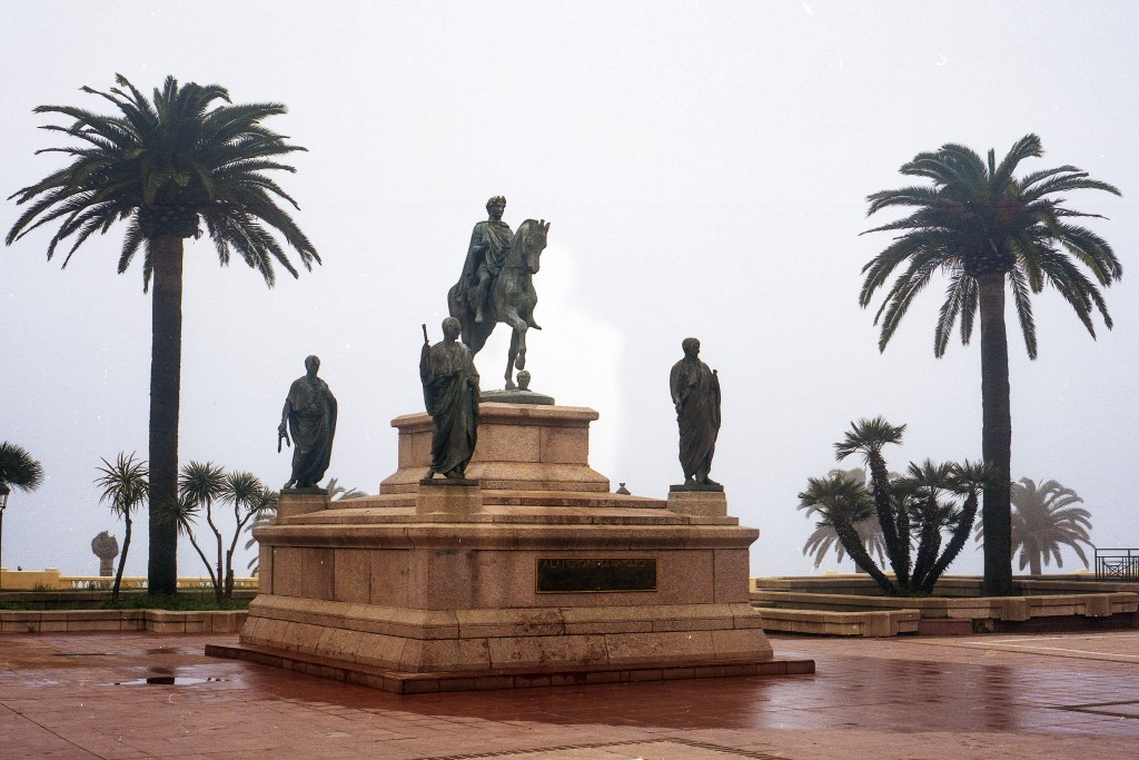 A monument representing Napoleon Bonaparte and his four brothers is pictured in Ajaccio, on the French mediterranean island of Corsica, Thursday Feb. ...