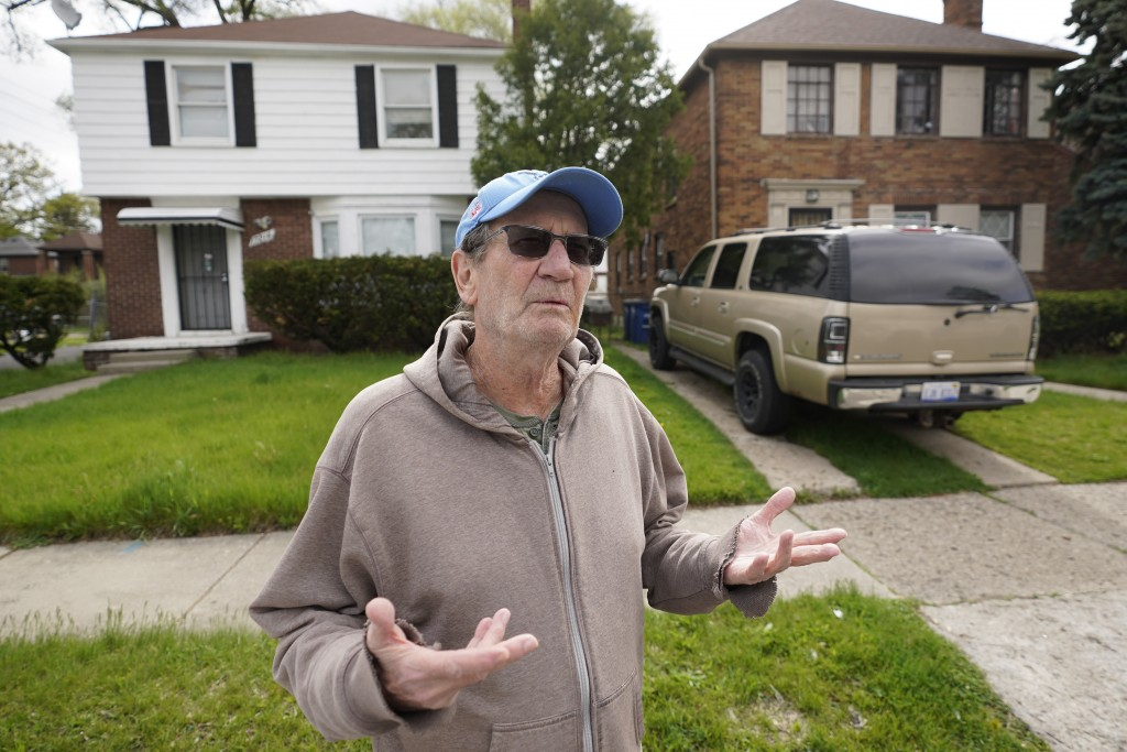 Nick Sbrocca talks about getting Covid-19 vaccinations in Detroit, Tuesday, May 4, 2021. Officials are walking door-to-door to encourage residents of ...