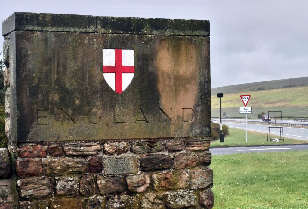 The English side of the border between Scotland and England at Berwick-Upon-Tweed, England, Tuesday, May 4, 2021. Scotland holds an election Thursday ...