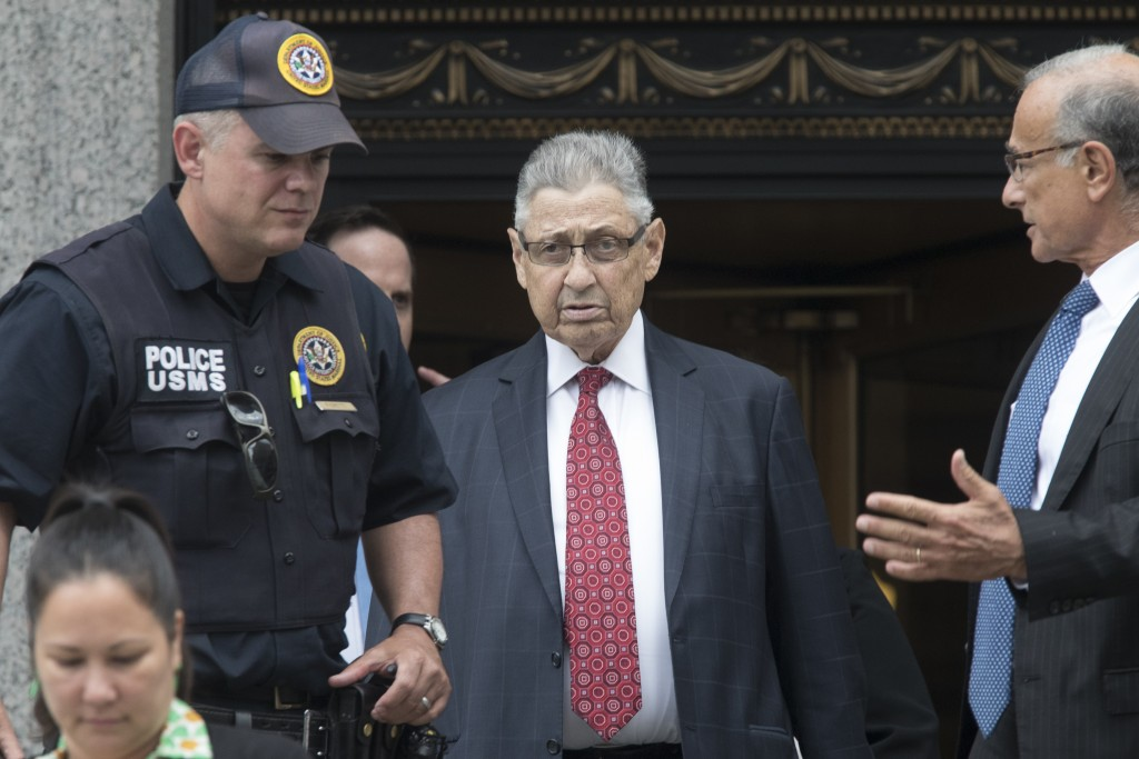 FILE - In this July 27, 2018 file photo, former New York Assembly Speaker Sheldon Silver, enter, leaves federal court in New York after his sentencing...