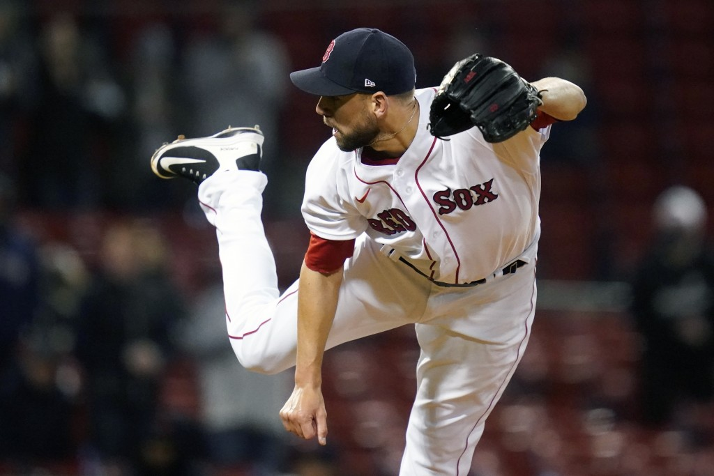 Boston Red Sox relief pitcher Matt Barnes delivers during the ninth inning of a baseball game against the Detroit Tigers at Fenway Park, Tuesday, May ...