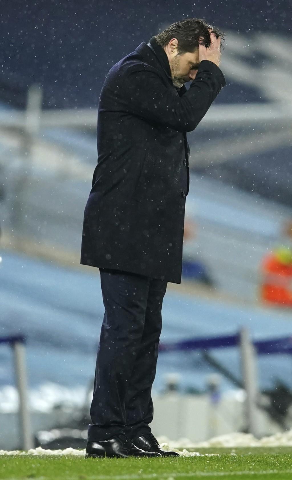PSG's head coach Mauricio Pochettino during the Champions League semifinal second leg soccer match between Manchester City and Paris Saint Germain at ...