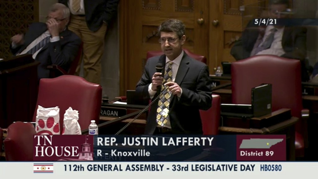 In this still image from video provided by the Tennessee General Assembly, Rep. Justin Lafferty, R-Knoxville, speaks on the floor of the House of Repr...