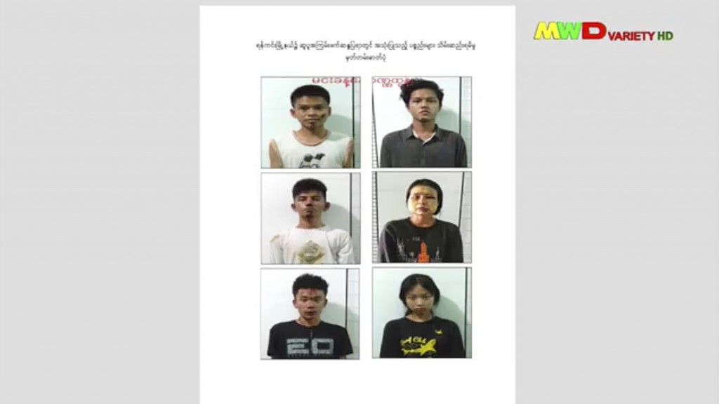 This image from an April 18, 2021 news report by Myawaddy TV shows people who security forces said they detained in a weapons raid a day earlier in th...