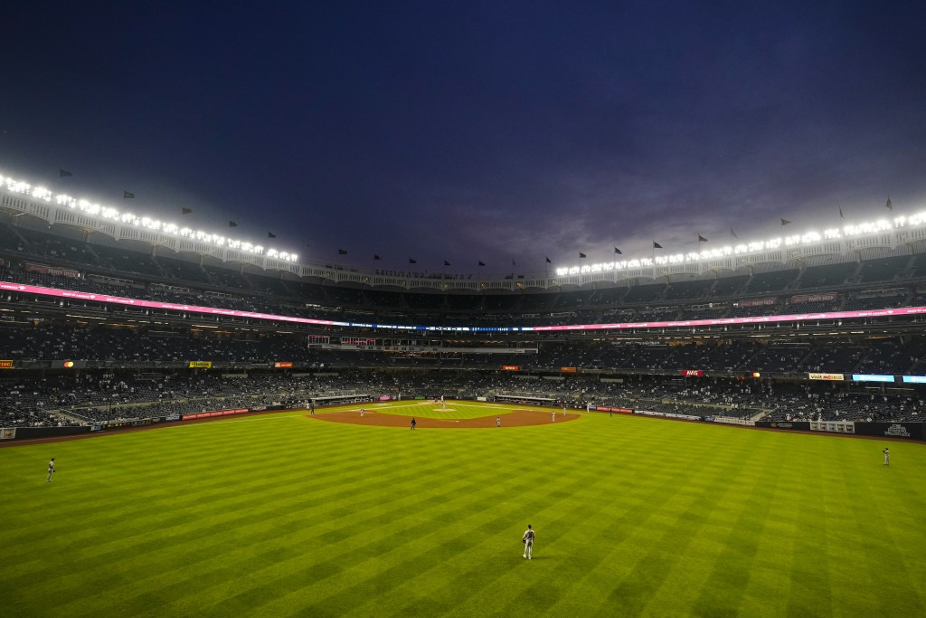 The Houston Astros play the New York Yankees during the third inning of a baseball game Tuesday, May 4, 2021, in New York. (AP Photo/Frank Franklin II...