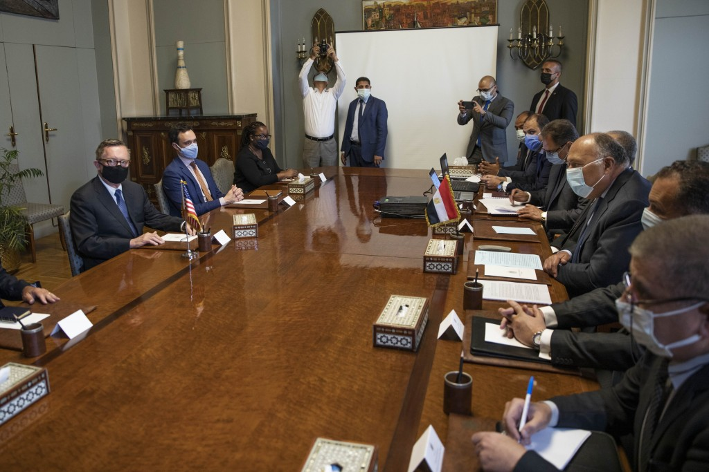U.S. Special Envoy for the Horn of Africa Jeffrey Feltman, left, meets with Egyptian Foreign Minister Sameh Shoukry, third right, and their delegation...