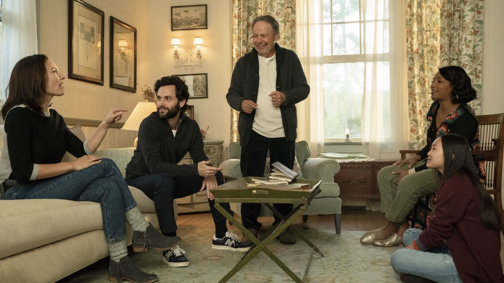 """This image released by Sony Pictures shows, from left, Laura Benanti, Penn Badgley, Billy Crystal, Tiffany Haddish and Audrey Hsieh in a scene from """"H..."""