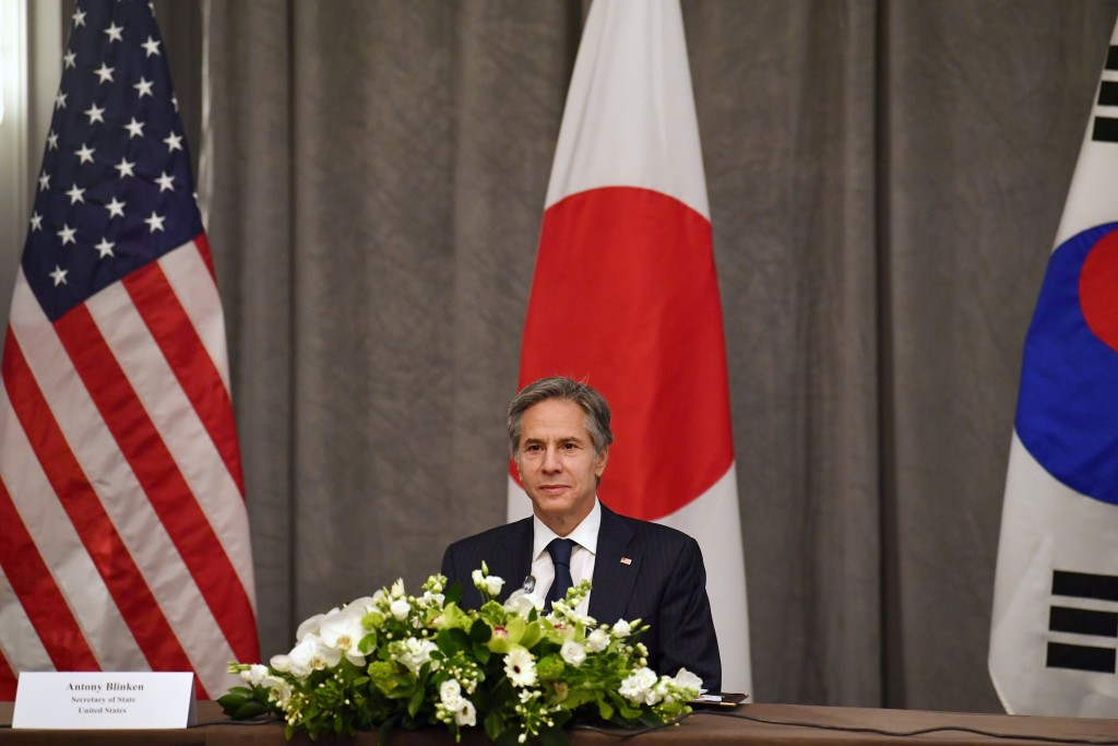 United States' Secretary of State Antony Blinken participates in a trilateral meeting with the foreign ministers of Japan and South Korea on the sidel...