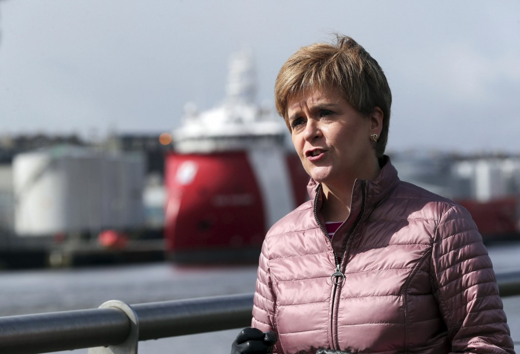 First Minister of Scotland and leader of the SNP Nicola Sturgeon, visits Pocra Quay during campaigning for the Scottish Parliamentary election, in Abe...