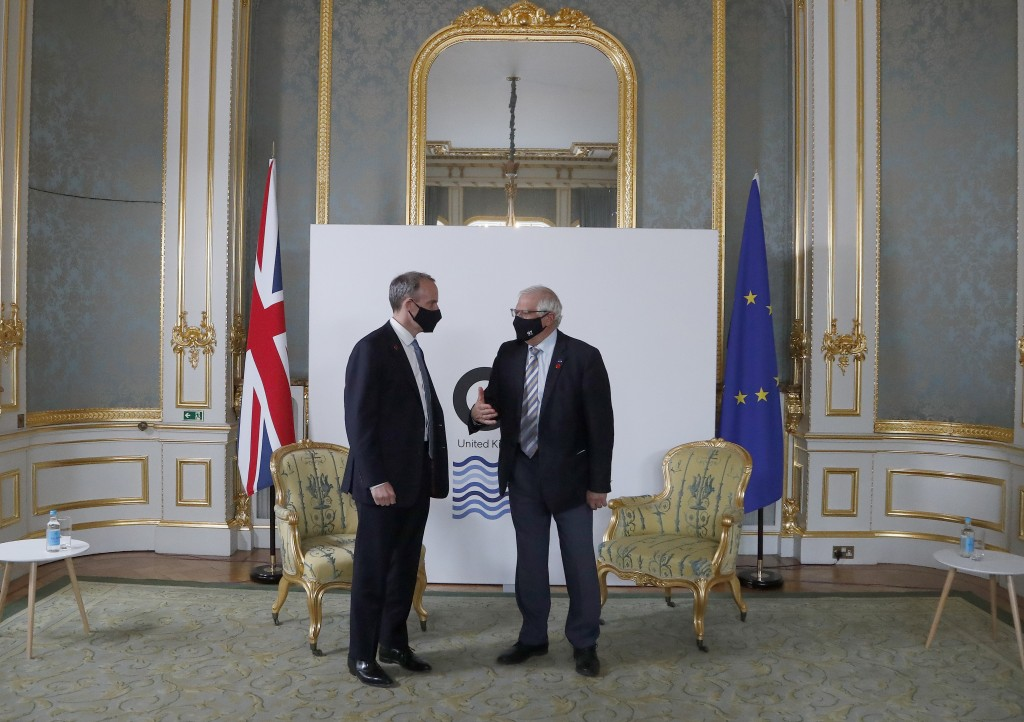High Representative of the EU for Foreign Affairs Josep Borrell, right, and Dominic Raab Secretary of State for Foreign Affairs meet ahead of bi-later...