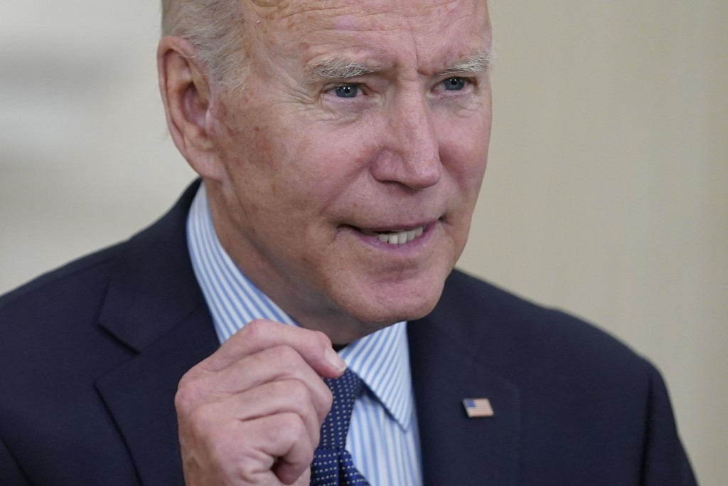 President Joe Biden speaks about the COVID-19 vaccination program, in the State Dining Room of the White House, Tuesday, May 4, 2021, in Washington. (...