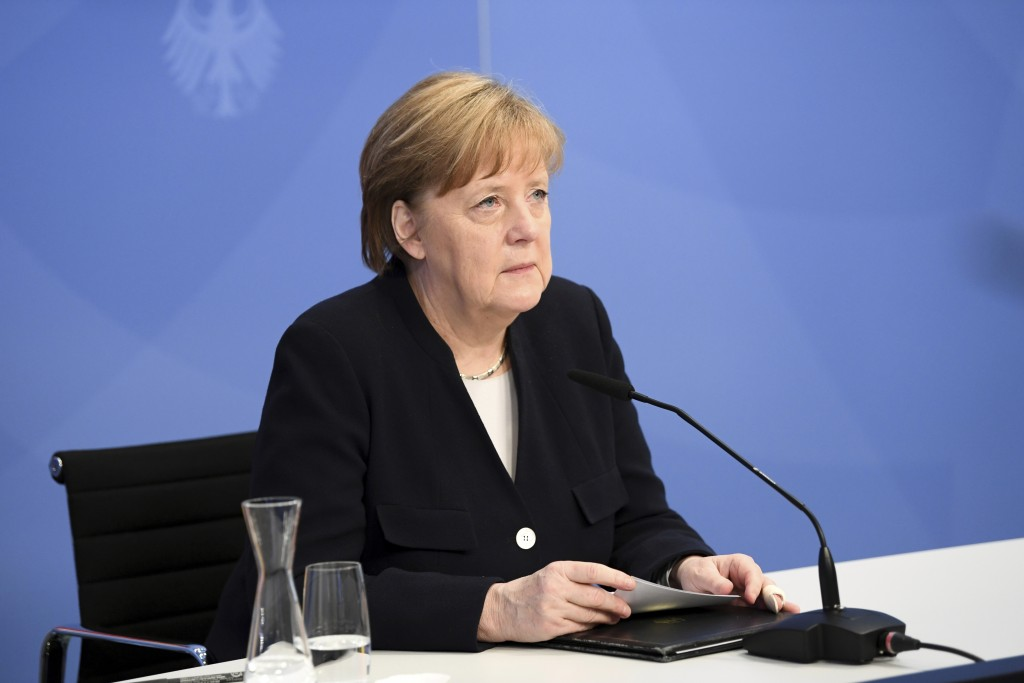 German Chancellor Angela Merkel arrives to attend a virtual event with Dutch Prime Minister Mark Rutte at the Chancellery in Berlin, Germany, Wednesda...