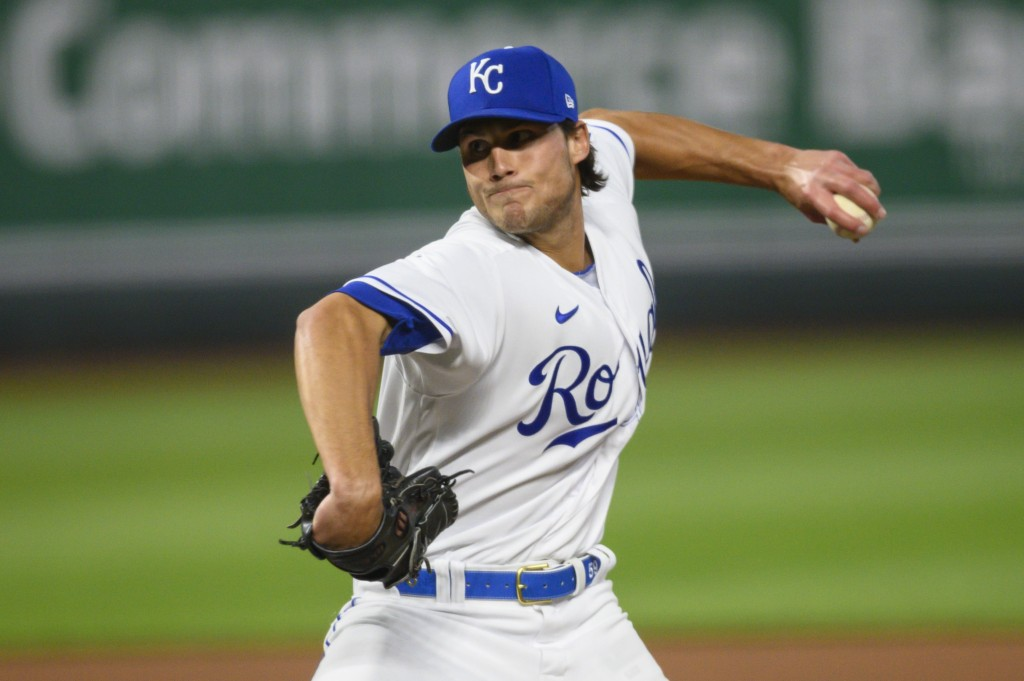 Kansas City Royals relief pitcher Jake Brentz throws against the Cleveland Indians during the seventh inning of a baseball game Tuesday, May 4, 2021, ...