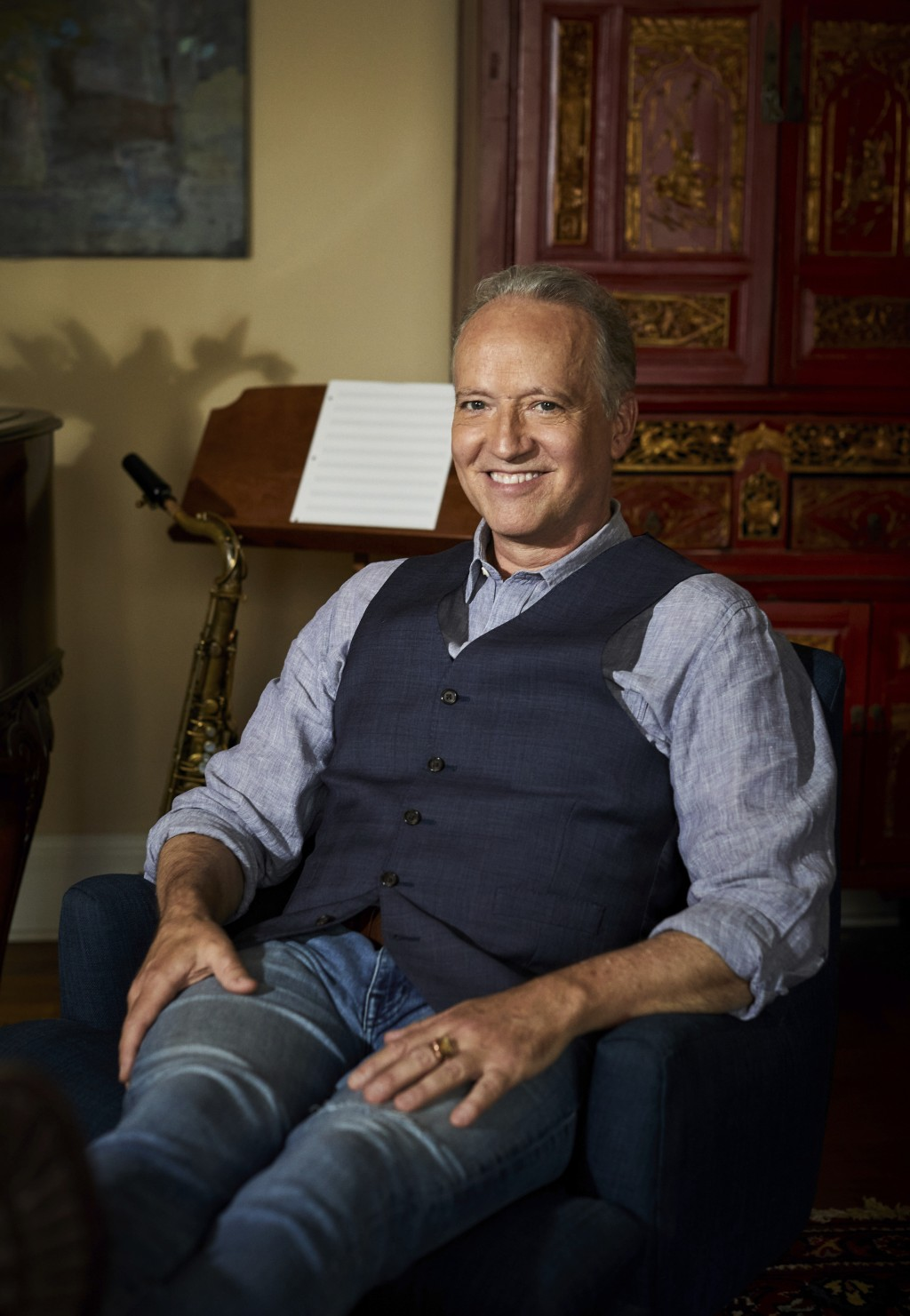 Grammy-winning jazz saxophonist-composer Ted Nash poses for a portrait in New York on May 4, 2021. Nash is releasing an album with actress Glenn Close...