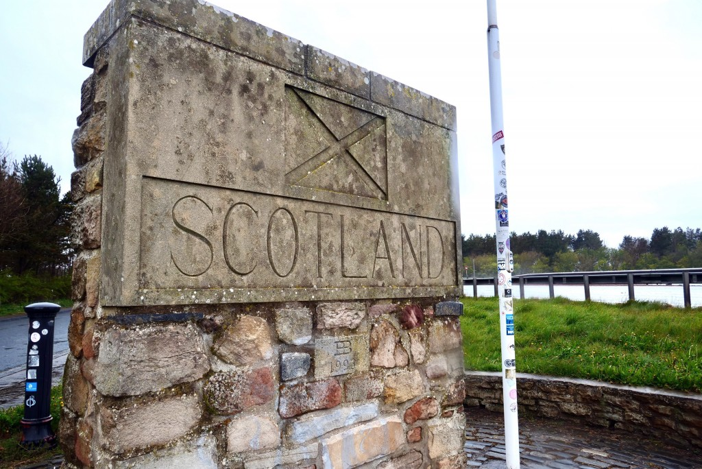 The Scottish side of the border between Scotland and England at Berwick-Upon-Tweed, Scotland, Tuesday, May 4, 2021. Scotland holds an election Thursda...