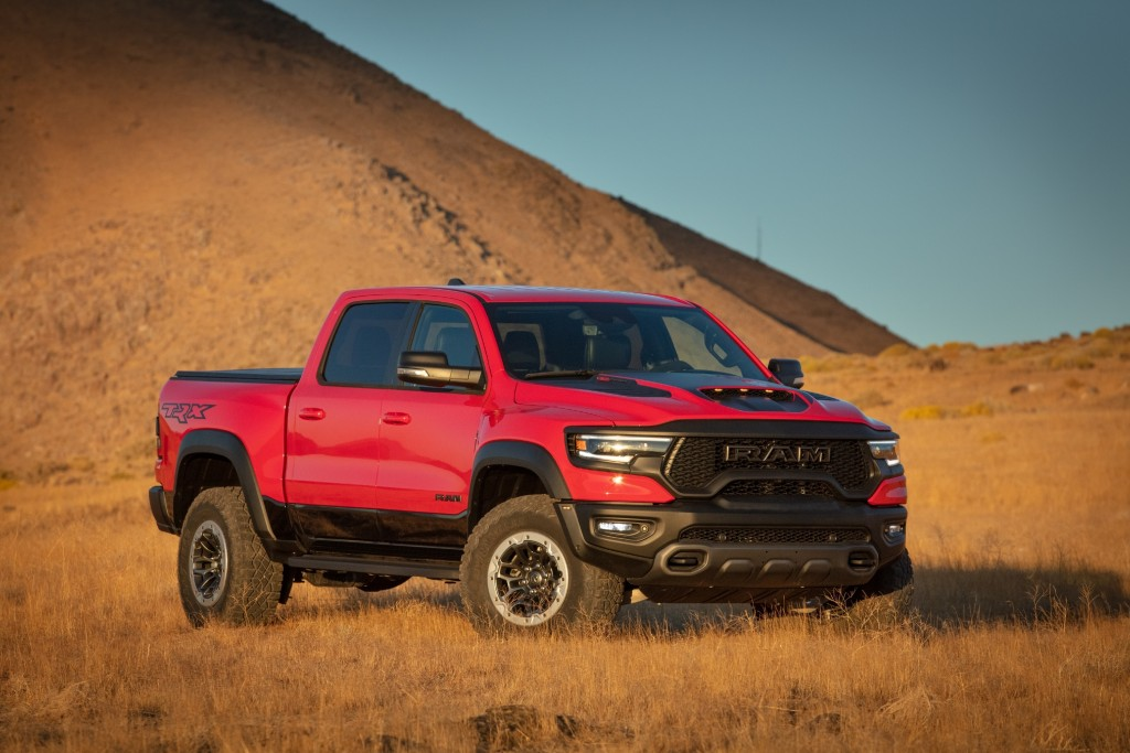 This photo provided by Stellantis North America shows the 2021 Ram 1500 TRX Crew Cab, a full-size off-road-focused truck that can carry up to five peo...