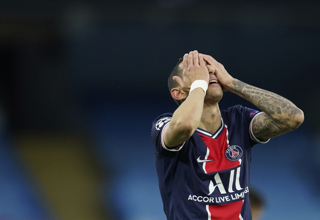 PSG's Angel Di Maria gesture after missing a chance during the Champions League semifinal second leg soccer match between Manchester City and Paris Sa...