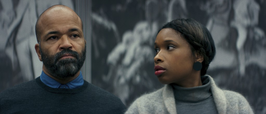 """This image released by Netflix shows Jeffrey Wright, left, and Jennifer Hudson in a scene from """"Monster."""" (Netflix via AP)"""