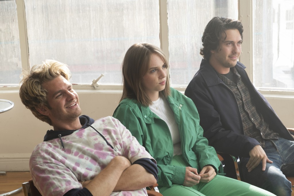 """This image released by IFC Films shows Andrew Garfield, from left, Maya Hawke and Nat Wolff in a scene from """"Mainstream,"""" a film by Gia Coppola. (Beth..."""