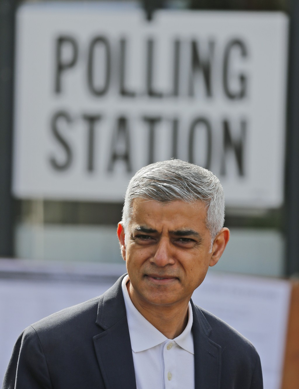 Mayor of London Sadiq Khan leaves the polling station after casting his ballot, at St Albans Church in London, Thursday, May 6, 2021. Millions of peop...