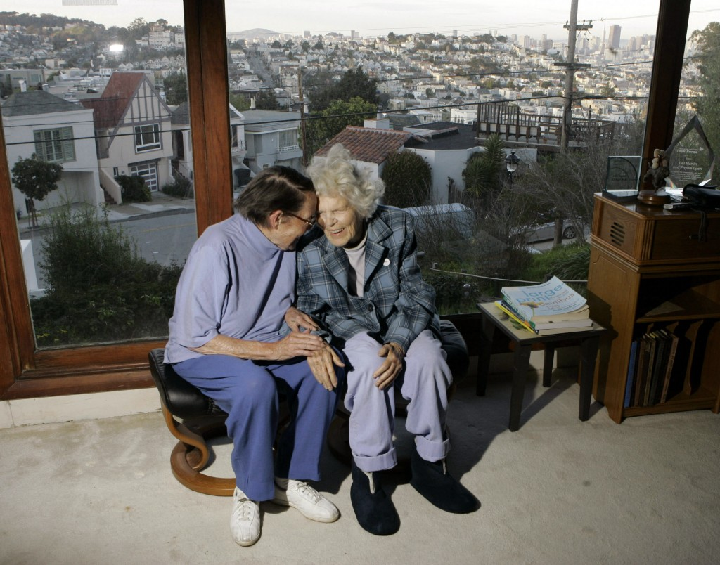 FILE - In this March 3, 2008, file photo, Phyllis Lyon, left, and Del Martin are photographed at home in San Francisco. The hilltop cottage of the cou...