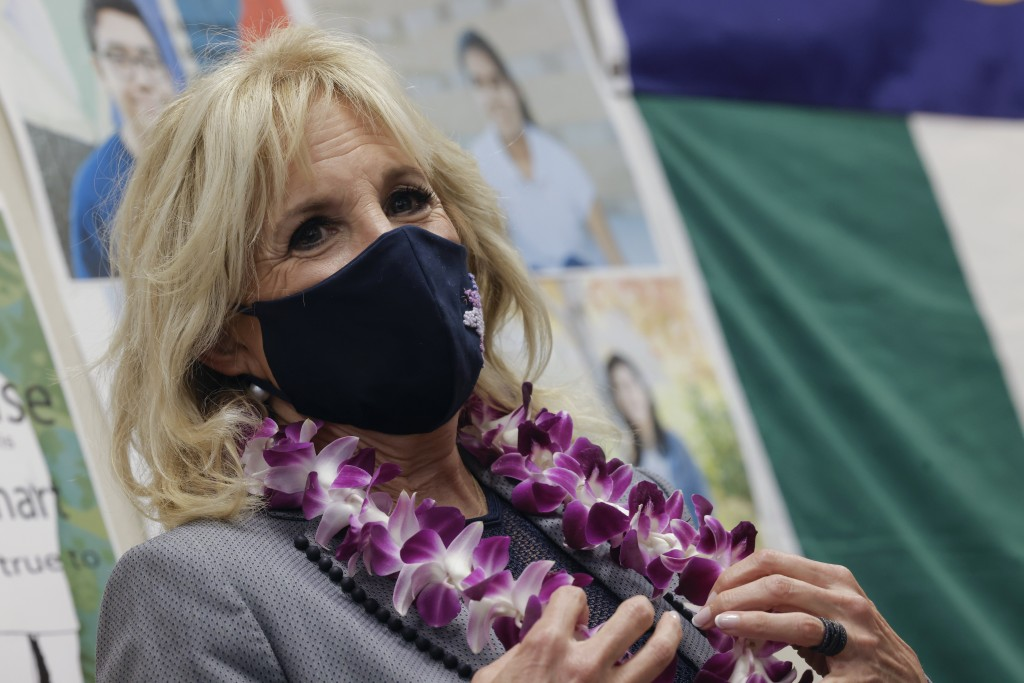 First lady Jill Biden visits a classroom at Glendale Middle School on Wednesday, May 5, 2021, in Salt Lake City. (Carlos Barria/Pool via AP)