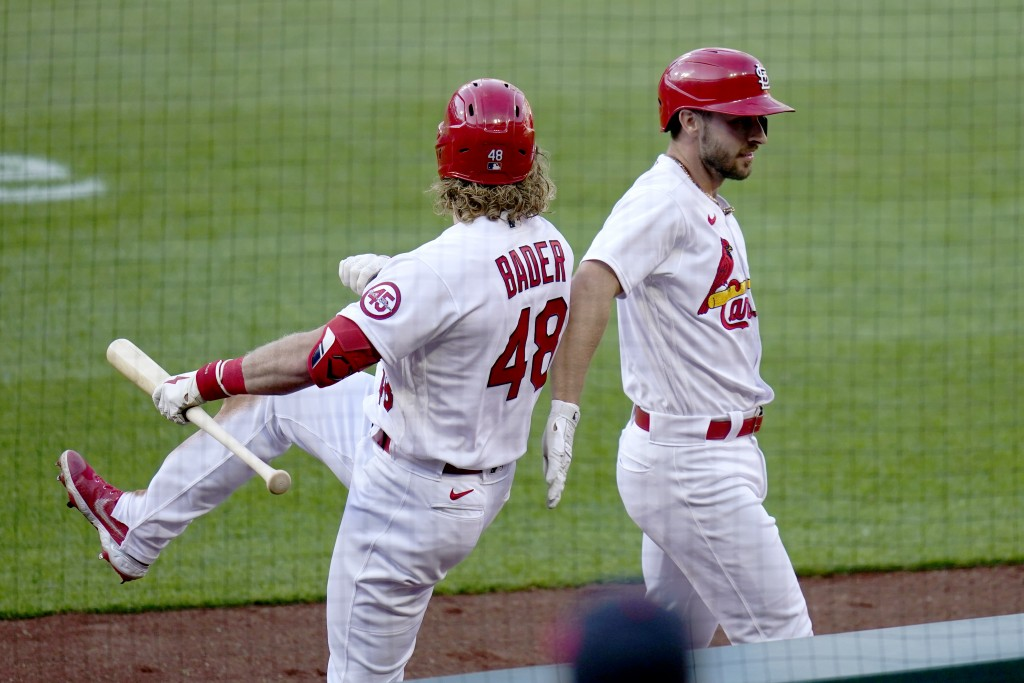 St. Louis Cardinals' Paul DeJong, right, is congratulated by teammate Harrison Bader (48) after hitting a two-run home run during the fifth inning in ...