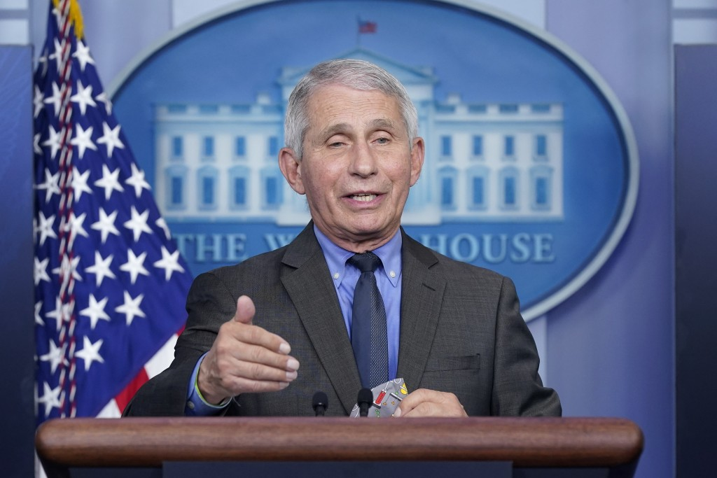 FILE - In this April 13, 2021 file photo, Dr. Anthony Fauci, director of the National Institute of Allergy and Infectious Diseases, speaks during a pr...