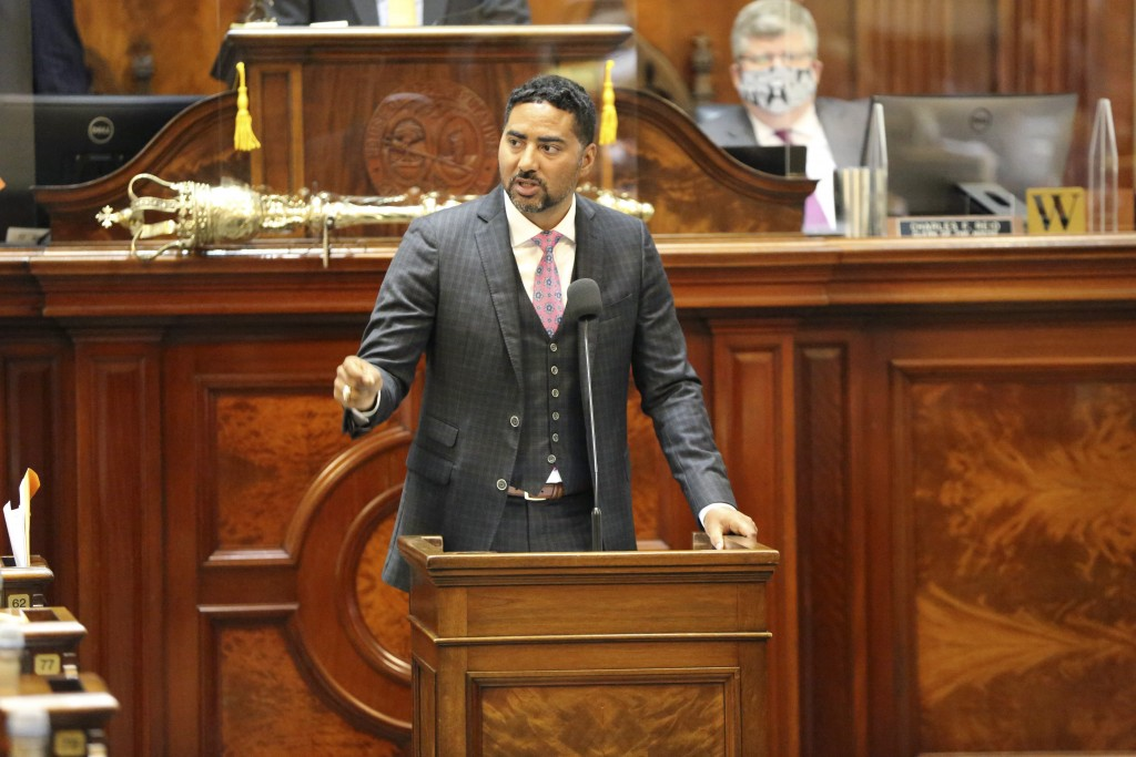South Carolina Rep. Justin Bamberg, D-Bamberg, speaks against a proposal to add firing squads to the state's methods of execution along with the elect...