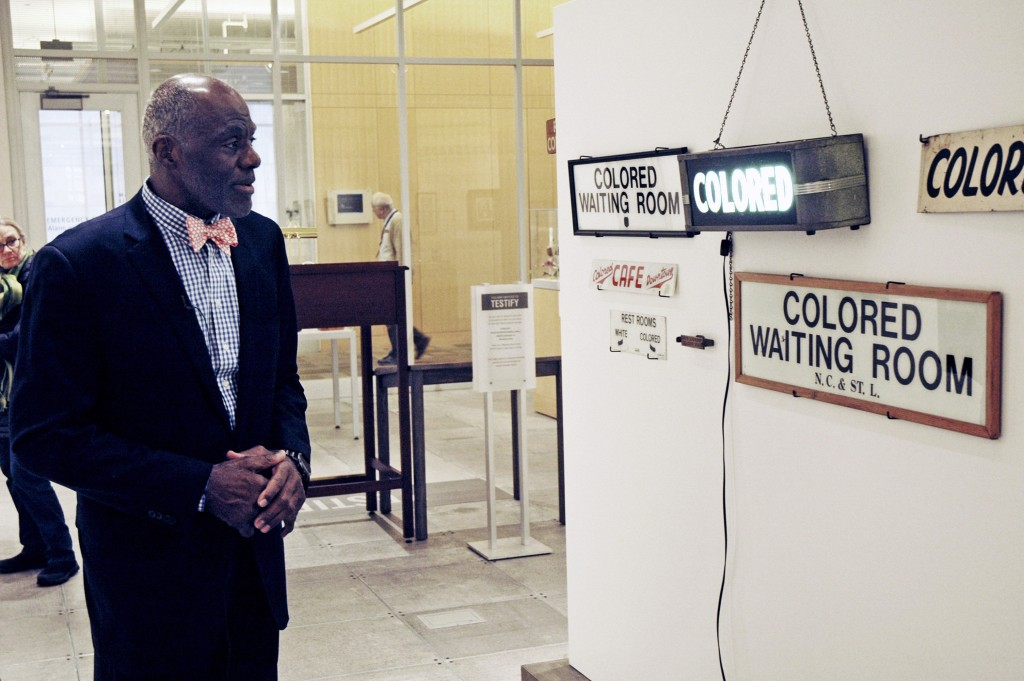 File-In this Jan. 11, 2018 file photo, Alan Page, NFL Hall of Famer and retired Minnesota Supreme Court justice, looks at a display which is among the...