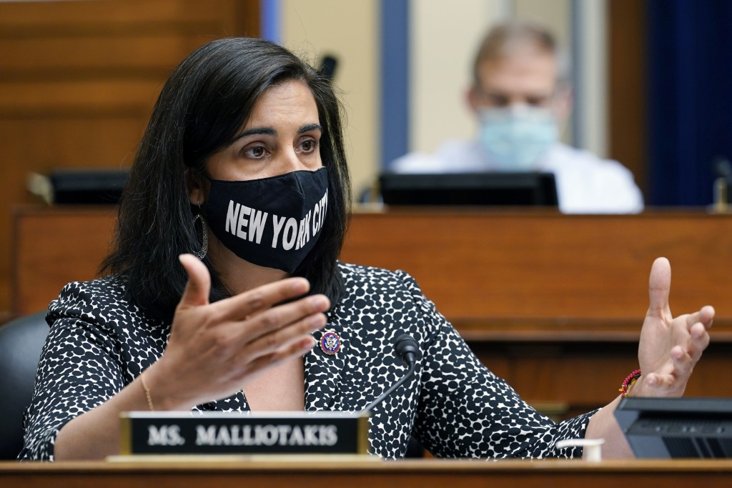 FILE - In this April 15, 2021, file photo, Rep. Nicole Malliotakis, R-N.Y., speaks during a House Select Subcommittee on the Coronavirus Crisis hearin...