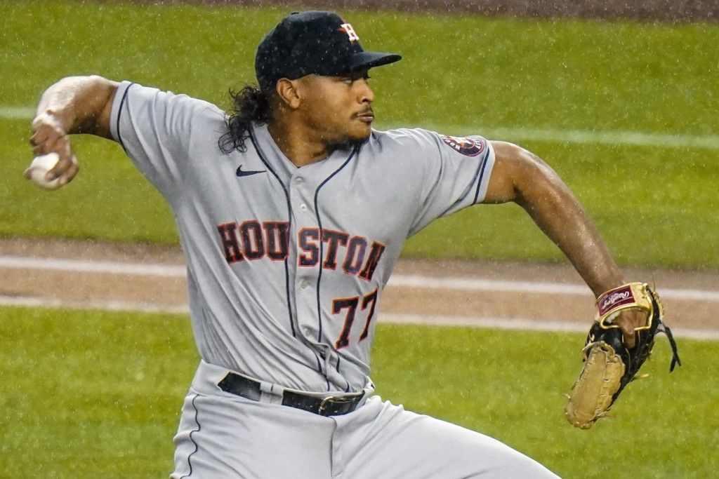 Houston Astros' Luis Garcia delivers a pitch during the first inning of a baseball game against the New York Yankees Wednesday, May 5, 2021, in New Yo...