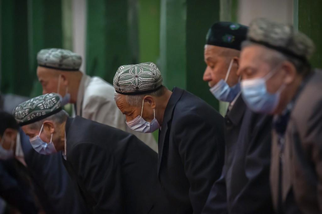 Uyghurs in prayer.