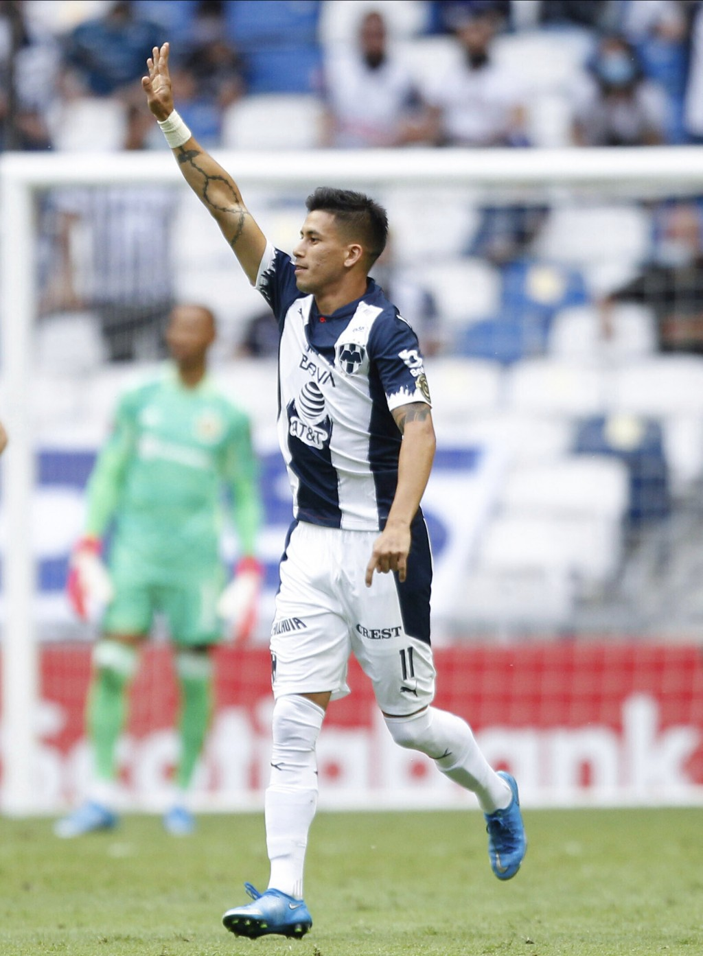 Maximiliano Meza of Mexico's Monterrey celebrates after scoring the opening goal against Unites States' Columbus Crew during a Concacaf Champions Leag...