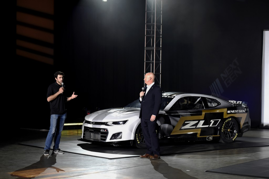 Driver Chase Elliott and Eric Warren, Director, NASCAR Programs with General Motors talk about the Next Gen Camaro that will be used in the 2022 seaso...
