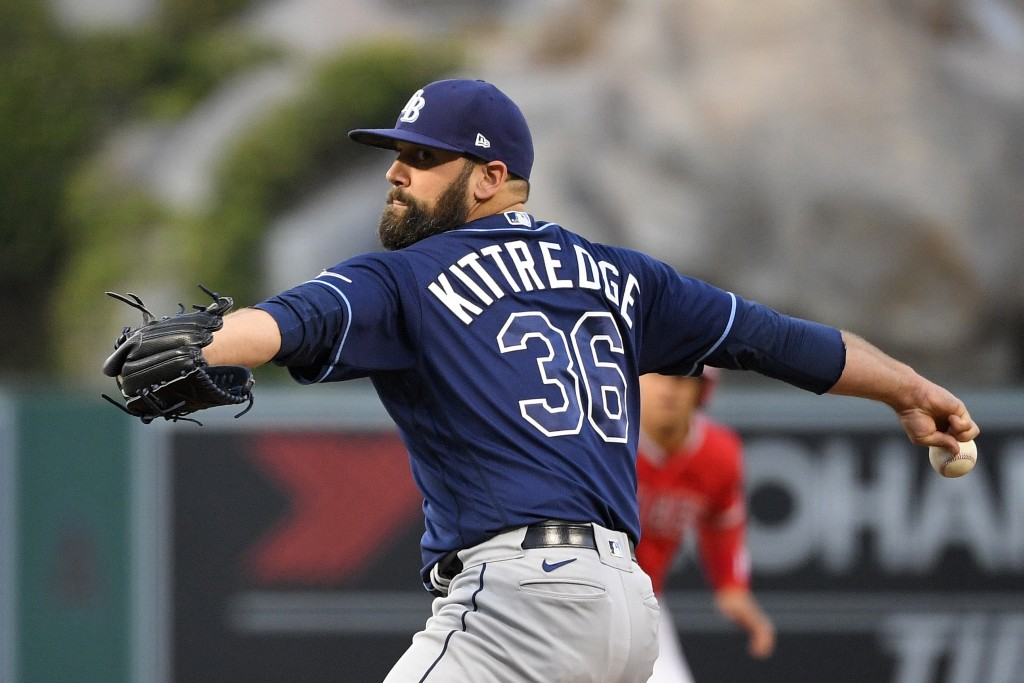 Tampa Bay Rays starting pitcher Andrew Kittredge throws to the plate during the second inning of a baseball game against the Los Angeles Angels on Wed...