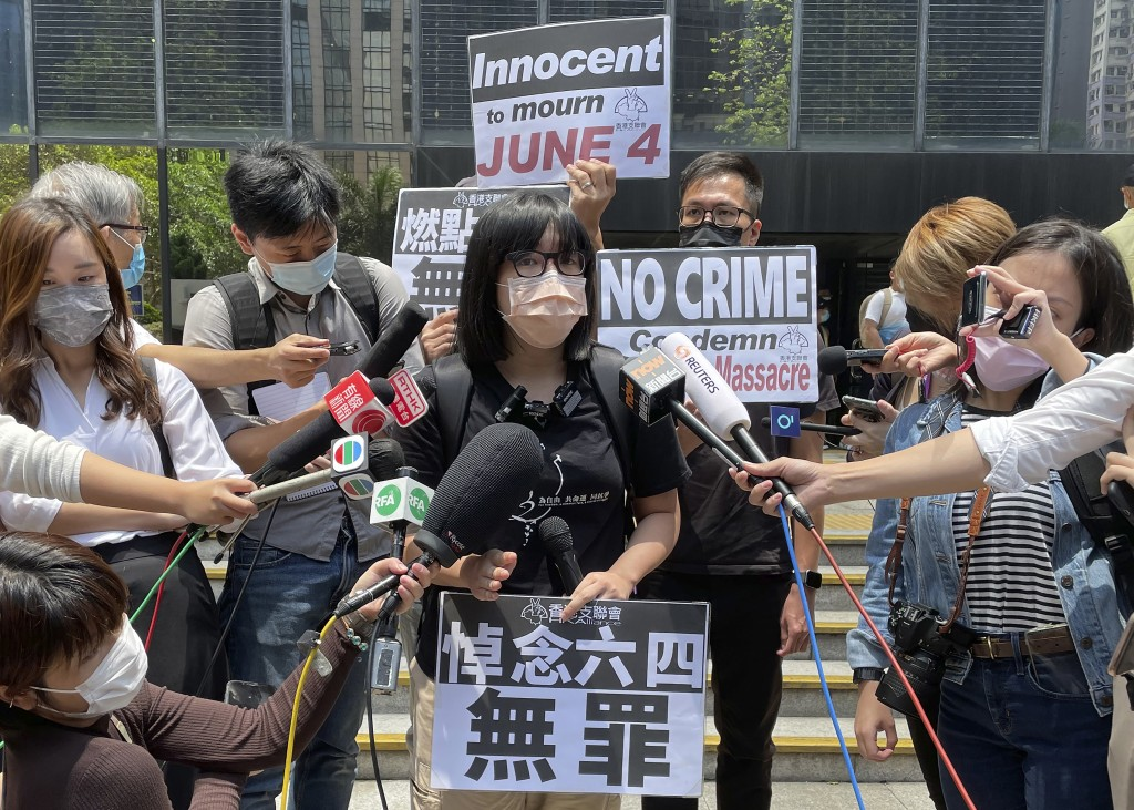 Hong Kong Alliance in Support of Patriotic Democratic Movements of China Vice Chairperson Chow Hang-tung speaks to media outside a court in Hong Kong,...