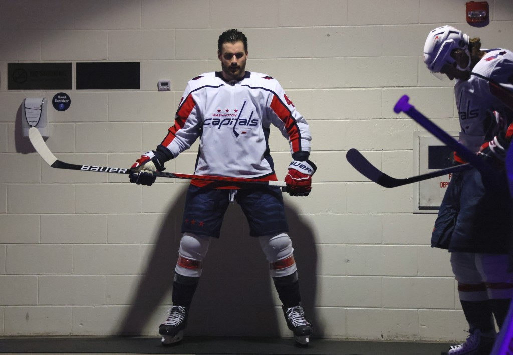 Washington Capitals' Tom Wilson prepares for warmups for the team's NHL hockey game against the New York Rangers on Wednesday, May 5, 2021, in New Yor...