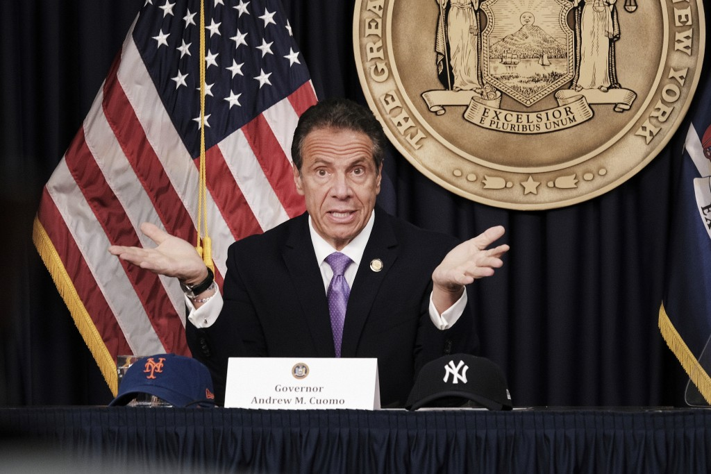 New York Gov. Andrew Cuomo speaks during a news conference, Wednesday, May 5, 2021, in New York. Gov. Cuomo said Broadway theaters can reopen Sept. 14...
