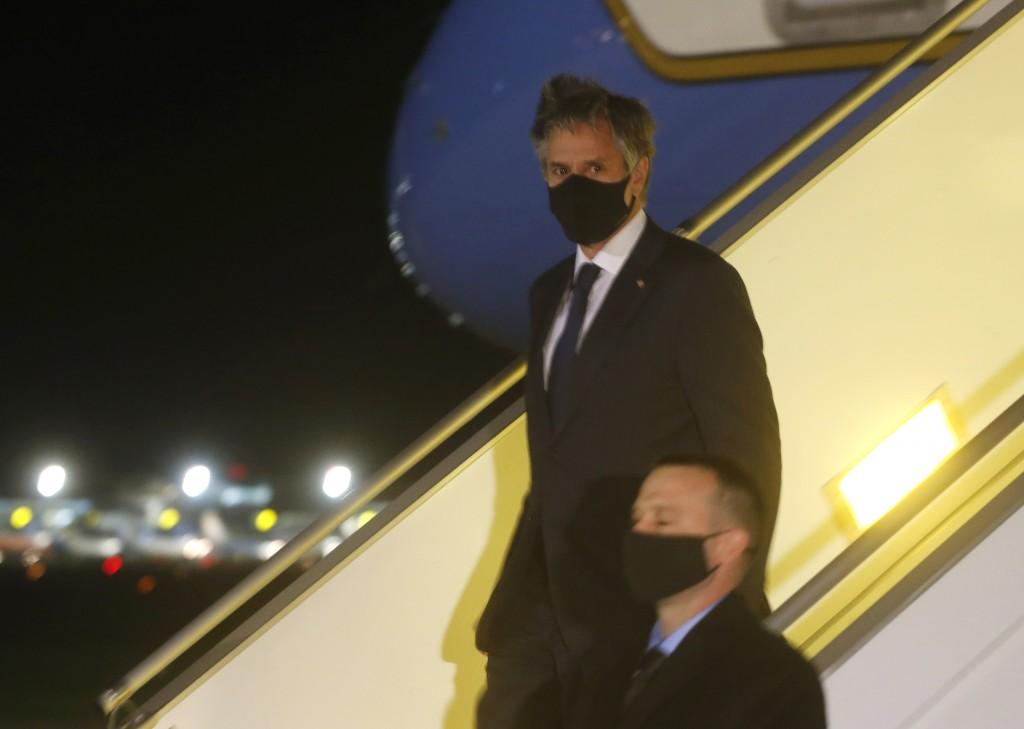 U.S. Secretary of State Antony Blinken disembarks after landing at Boryspil International airport outside Kyiv, Ukraine, early Thursday, May 6, 2021. ...