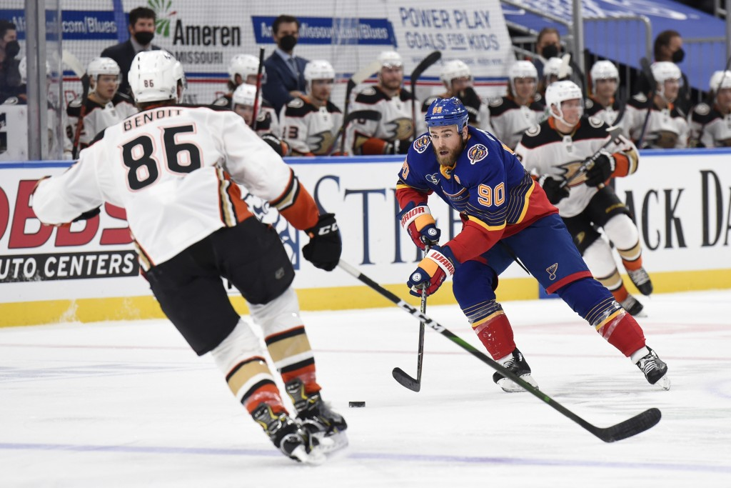 Anaheim Ducks' Simon Benoit (86) defends against St. Louis Blues' Ryan O'Reilly (90) during the second period of an NHL hockey game on Wednesday, May ...