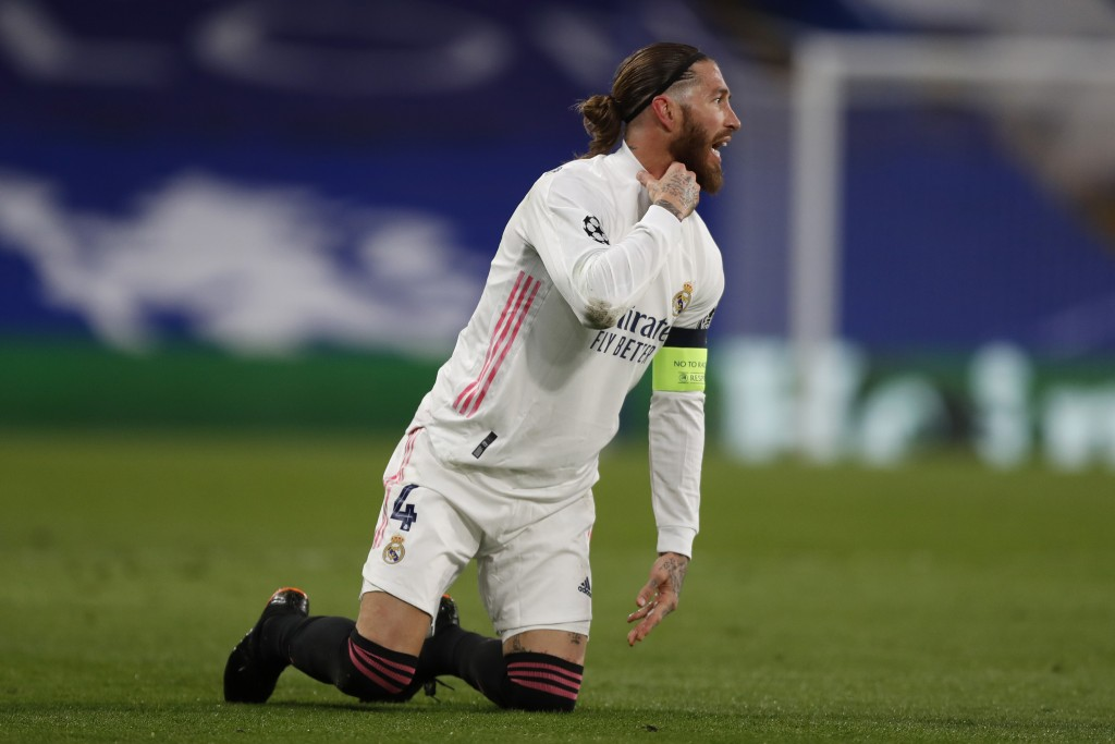 Real Madrid's Sergio Ramos gestures during the Champions League semifinal 2nd leg soccer match between Chelsea and Real Madrid at Stamford Bridge in L...
