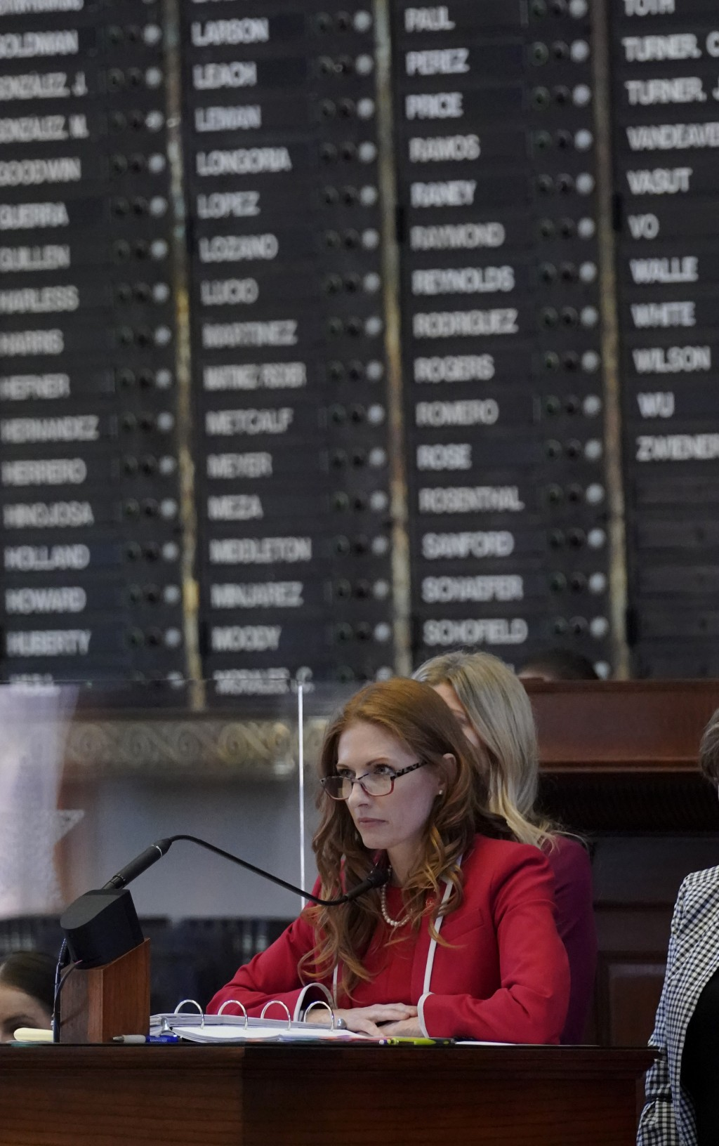 Texas State Rep. Shelby Slawson, R-Stephenville, center, answers questions about a proposed bill in the House Chamber, Wednesday, May 5, 2021, in Aust...